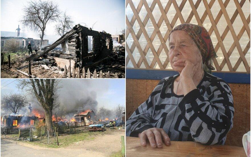 Senolė, kurios namai sudegė gaisre