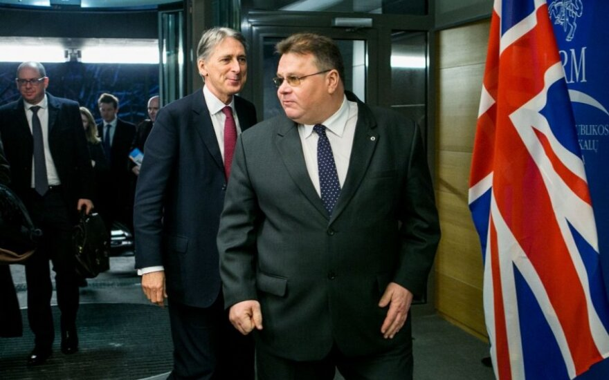 Linas Linkevičius (right) and Philip Hammond