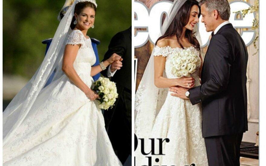 """Princesės Madeleine ir Amal Alamuddin su nuotakos suknelės (""""People"""" nuotr.)"""
