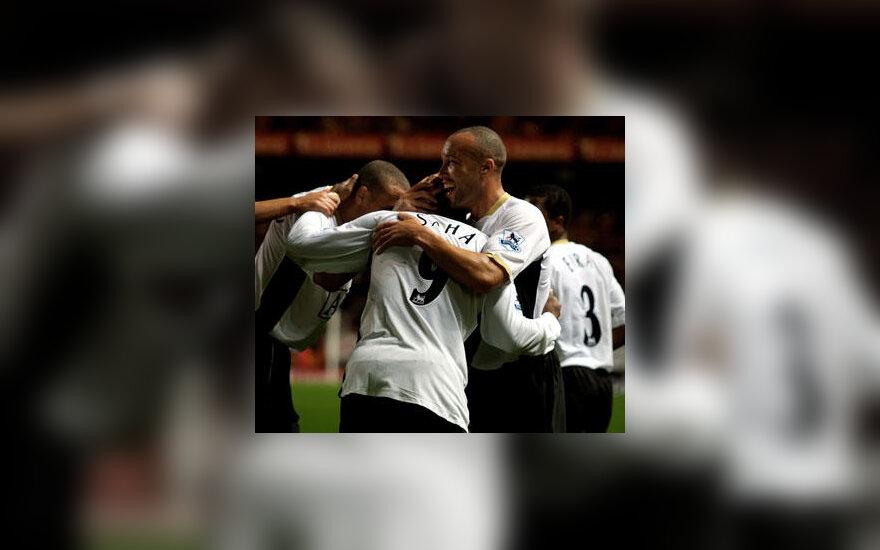 """""""Manchester United"""" futbolininkai džiaugiasi įvarčiu"""