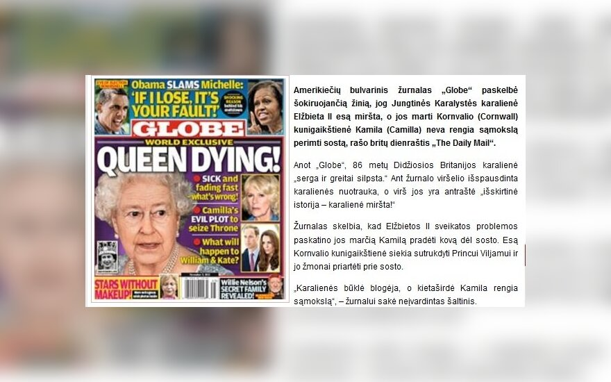 Amerikiečių bulvarinis žurnalas paskelbė, kad Elžbieta II miršta