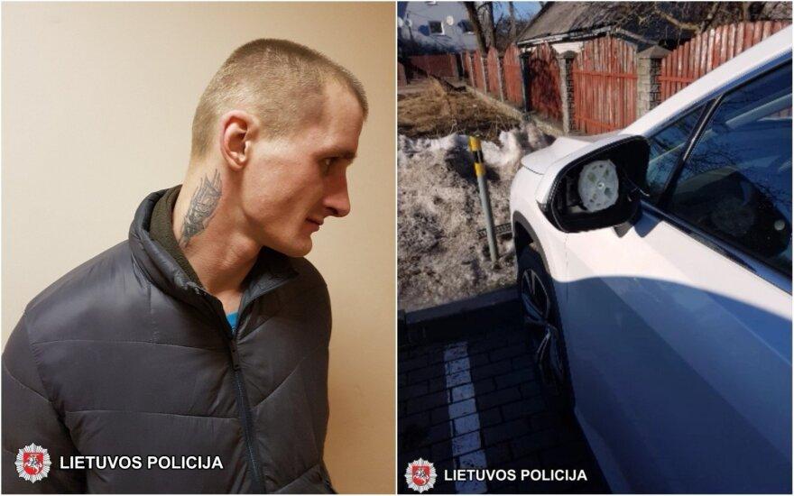 Vos paleistas iš policijos vagis puolė lupti automobilių veidrodėlius