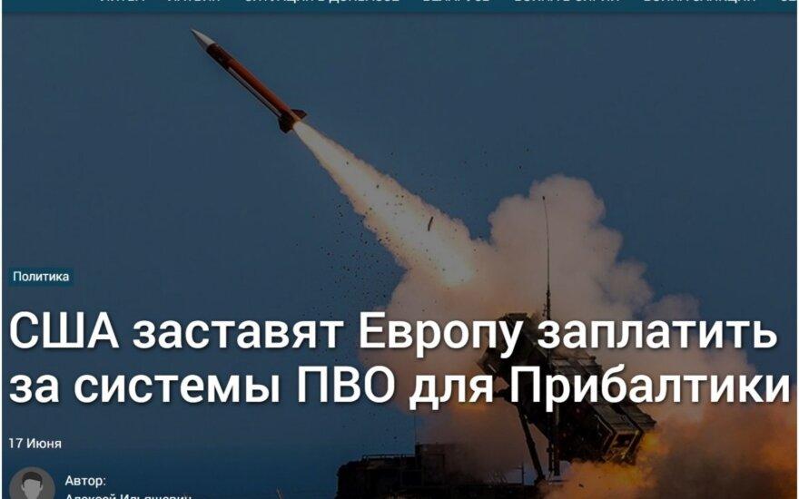 """Antraštė: """"JAV privers Europą sumokėti už Baltijos šalių oro gynybos sistemą"""""""