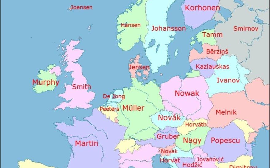Populiauriausios pavardės Europoje