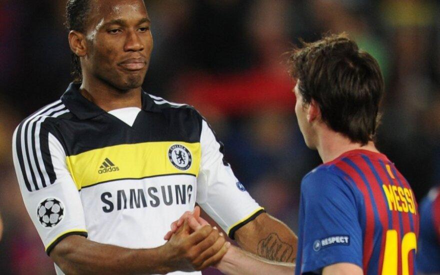 Didier Drogba ir Lionelis Messi