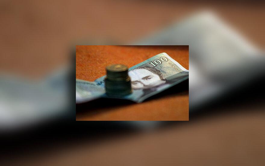 Litai, pinigai, banknotas, monetos, centai