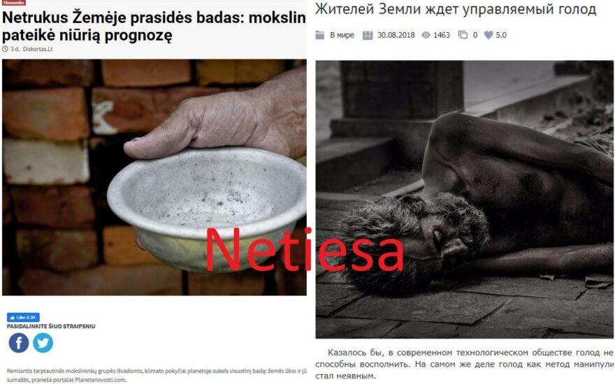 Melagingi straipsniai. Kairėje - lietuviškame portale patalpintas vertimas, dešinėje - originalas