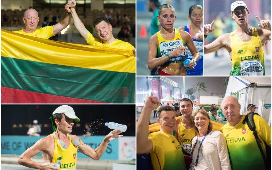 Sportinio ėjimo sirgaliai iš Lietuvos pasaulio čempionate palaiko mūsų šalies sportininkus / FOTO: Alfredas Pliadis
