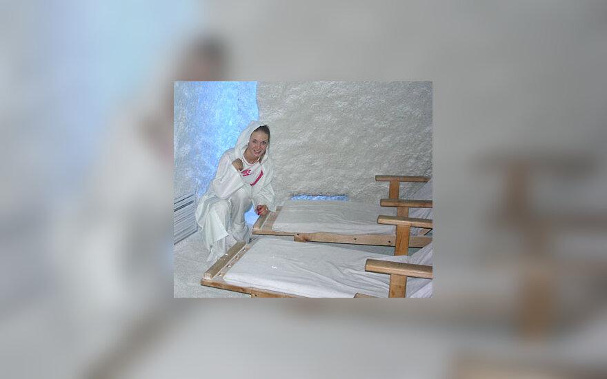 Natalija Zvonkė druskų kambaryje.