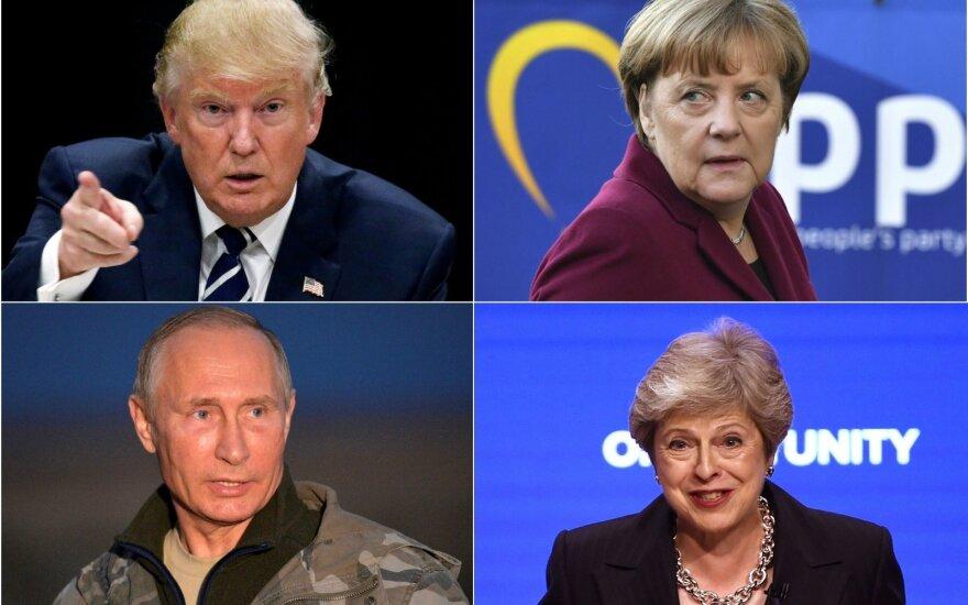 Donaldas Trumpas, Angela Merkel, Vladimiras Putinas ir Theresa May