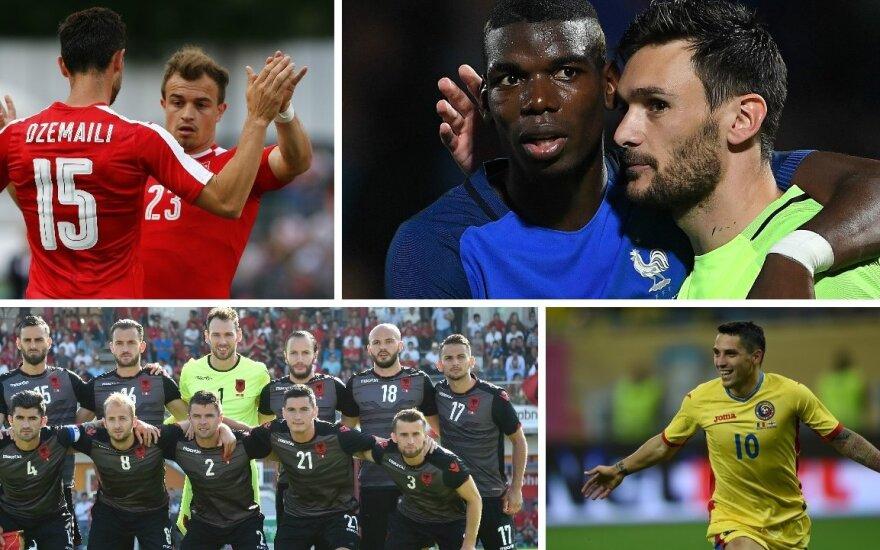Blerimas Džemaili ir Xherdanas Shaqiri, Paulis Pogba ir Hugo Lloris, Albanijos rinktinė, Nicolae Stanciu (AFP, Reuters-Scanpix nuotr.)