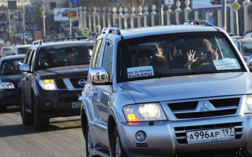 """Maskvoje vyko automobilių žygis """"Už sąžiningus rinkimus"""""""