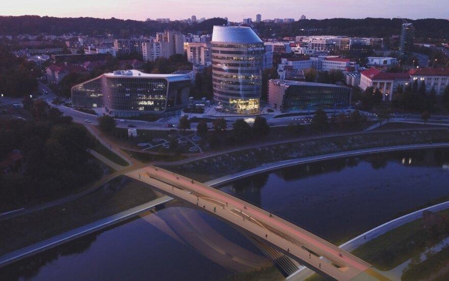 "Pėsčiųjų tiltas per Nerį Vilniuje. ""DO architects"" vizualizacija"