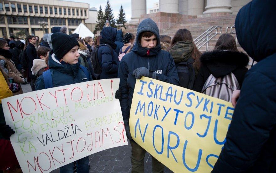 Mokiniai susirinko į mitingą: palaikau streiką – ir ne dėl kažkokių ekonominių priežasčių
