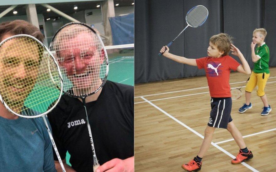 Giedrius Masalskis, Juozas Liesis, badmintono treniruotė