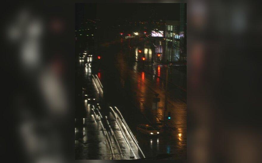 Miestas, naktis, gatvė, automobiliai