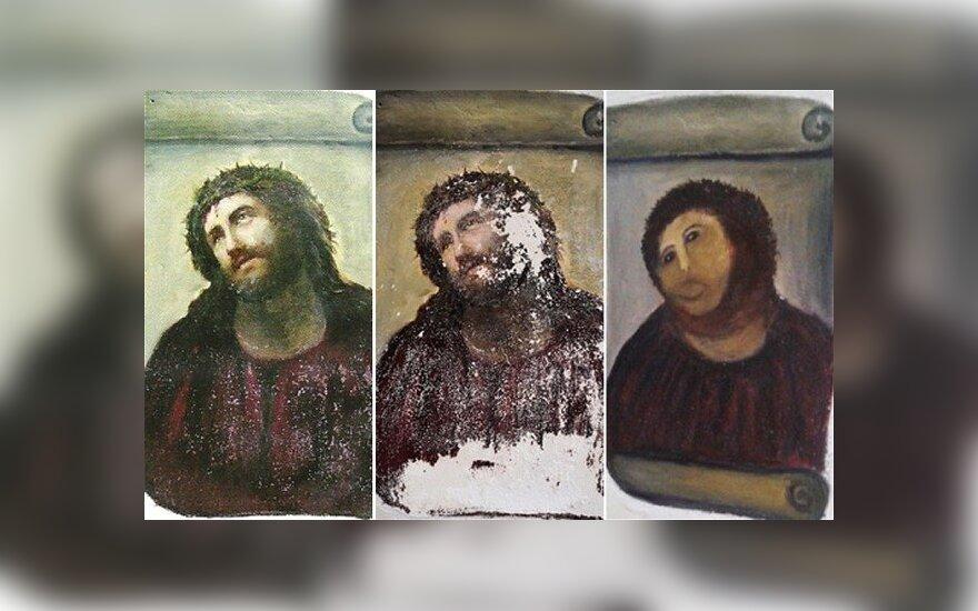 Moteris sugadino XIX a. freską savavališka restauracija, gawker.com nuotr.