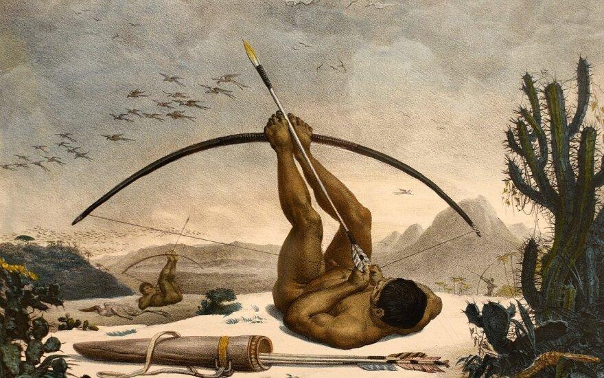 Brazilijos indėnai medžioja. 1834-ųjų paveikslas