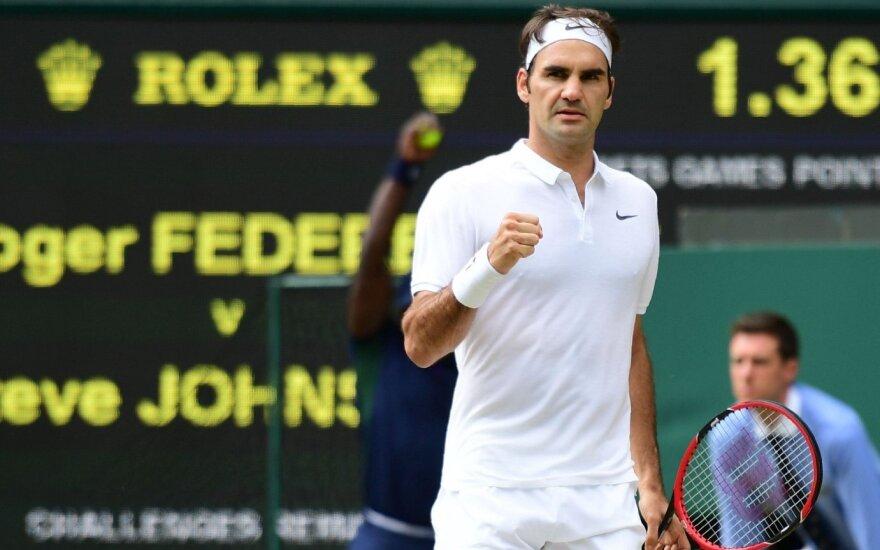 Aštuntojo Vimbldono titulo siekiantis R. Federeris – ketvirtfinalyje