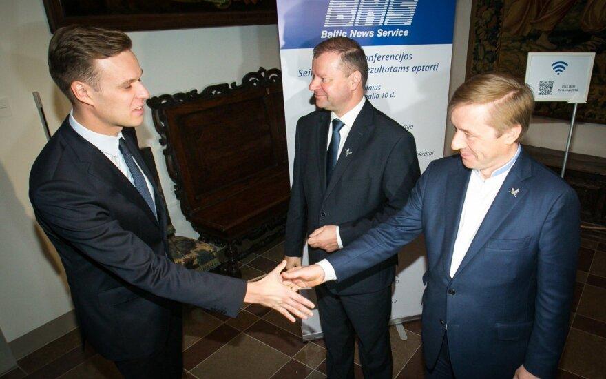 Gabrielius Landsbergis, Saulius Skvernelis and Ramūnas Karbauskis, day after the elections