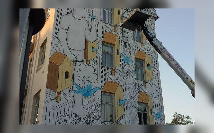 Vilniečius džiugina įspūdingas piešinys miesto centre