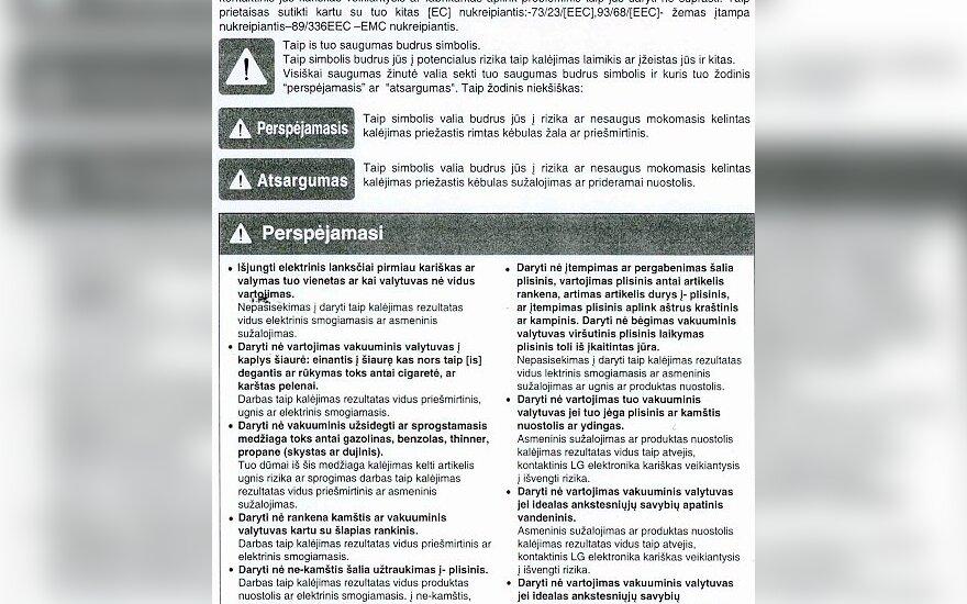Dulkių siurblio instrukcijoje – sapalionės nesuprantama lietuvių kalba