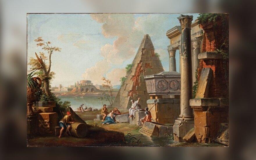 """Dž.P.Paninis """"Antikinės Romos griuvėsiai su Cestijaus piramide"""""""