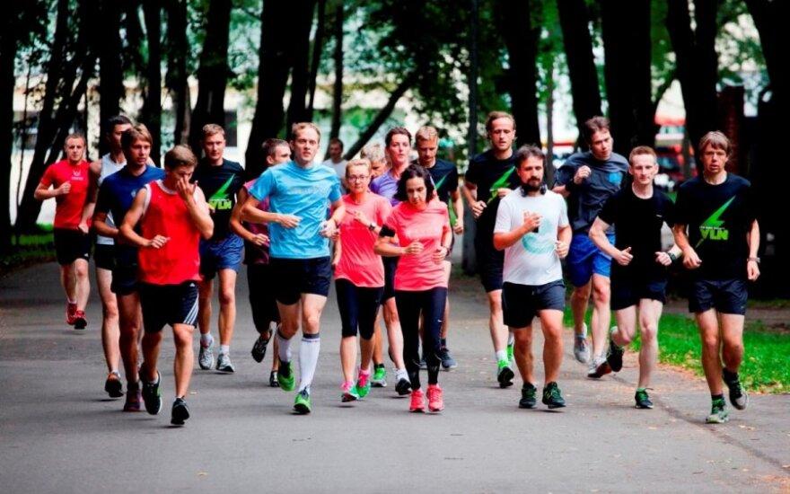 Maratono Vilniuje dalyvių treniruotė