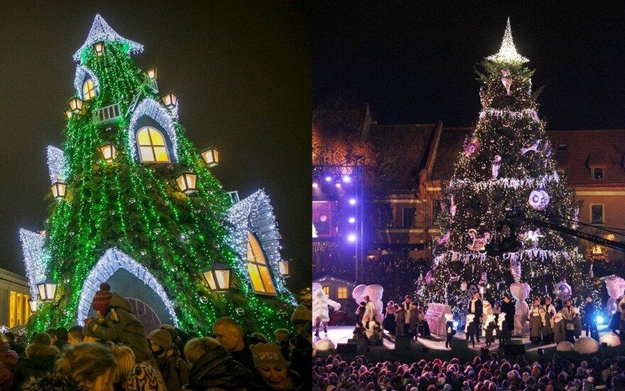 Vilniaus eglė (kairėje) ir Kauno eglė (dešinėje)