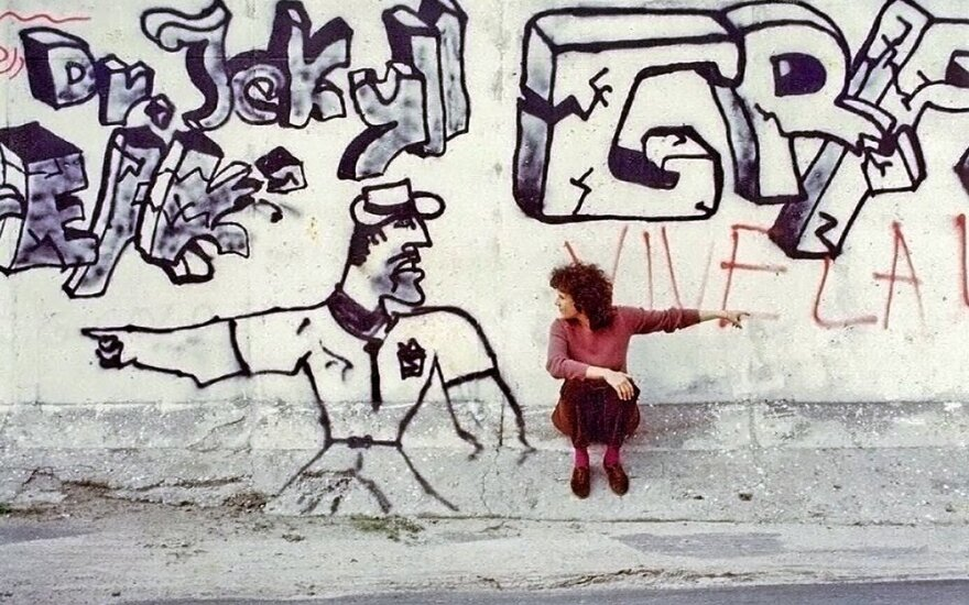 Irene Angelico at the Berlin Wall, 1980s - Photo Courtesy DLI Productions