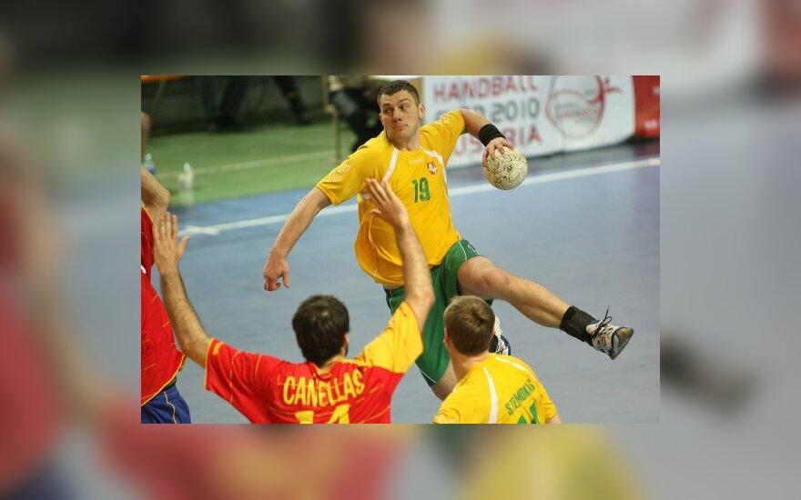 Pirmoji Lietuvos vyrų rankinio rinktinės pergalė Europos čempionato atrankoje