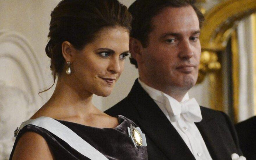 Švedijos princesė Madelein ir jos sužadėtinis Chrisas O'Neillas