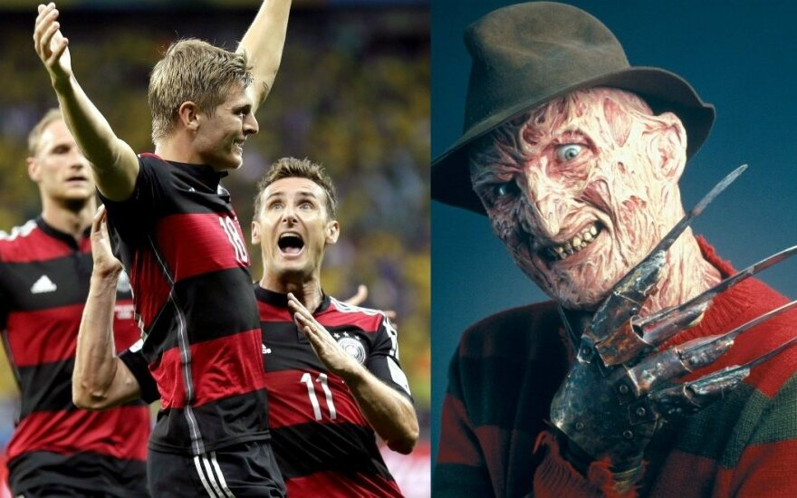 Vokietijos rinktinės futbolininkai ir Freddy Kruegeris (Scanpix ir AOP nuotr.)