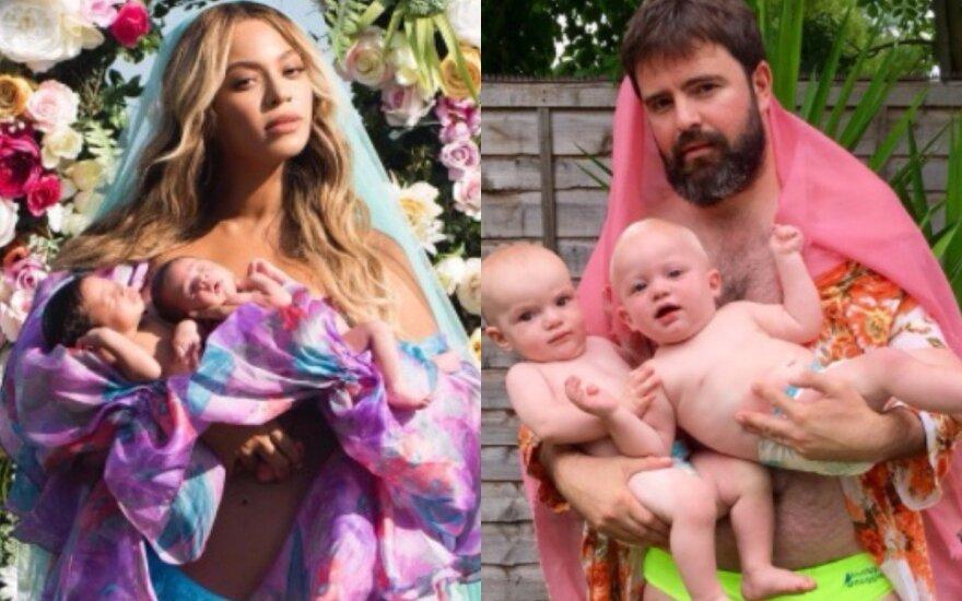 Internautai leipsta juokais: dvynukų tėvai kopijuoja garsiąsias Beyonce nuotraukas