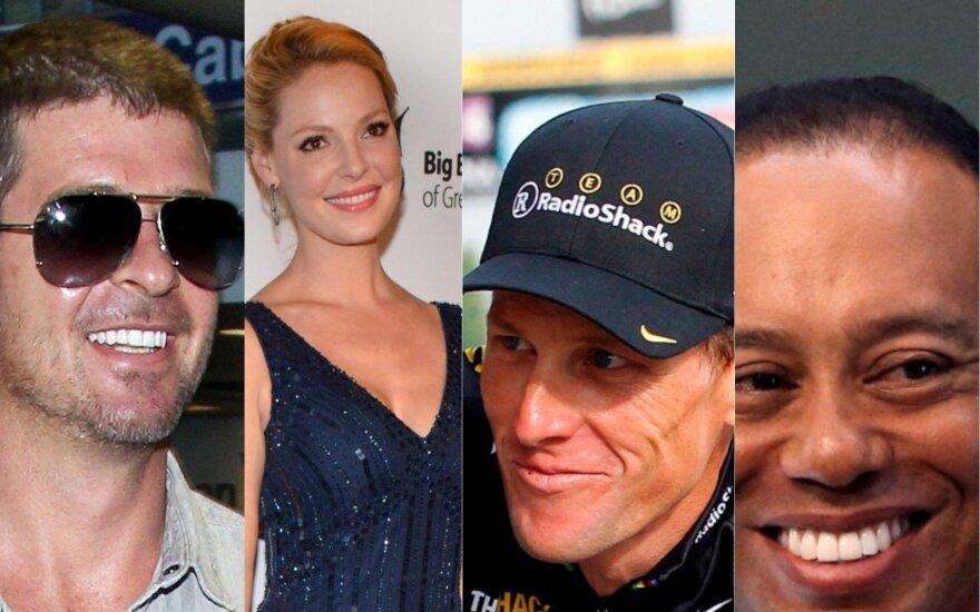 Robinas Thicke'as, Katherine Heigl, Lance'as Armstrongas, Tigeris Woodsas