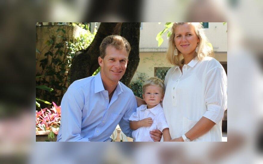 Gintarė Volungevičiūtė-Scheidt su vyru Robertu ir sūnumi Eriku
