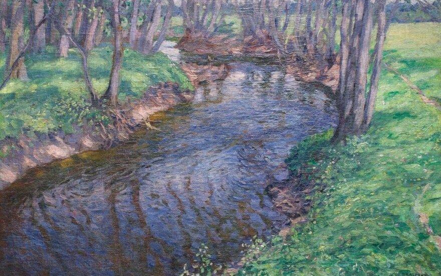 """Petras Kalpokas, """"Peizažas su čiurlenančiu upeliu"""", 1907"""