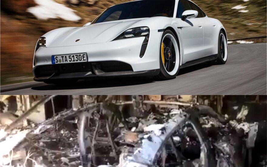 """Sudegė pirmasis """"Porsche Taycan"""""""
