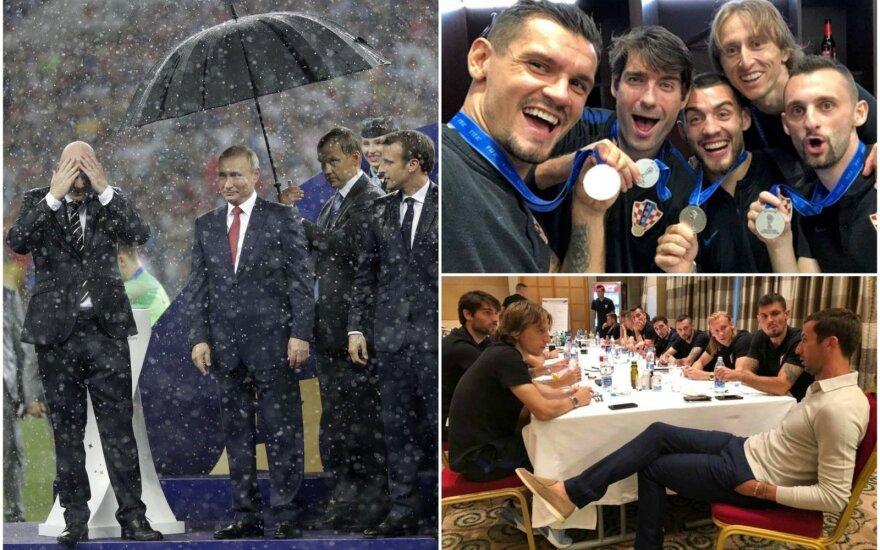 Vladimiras Putinas ir Kroatijos futbolininkai