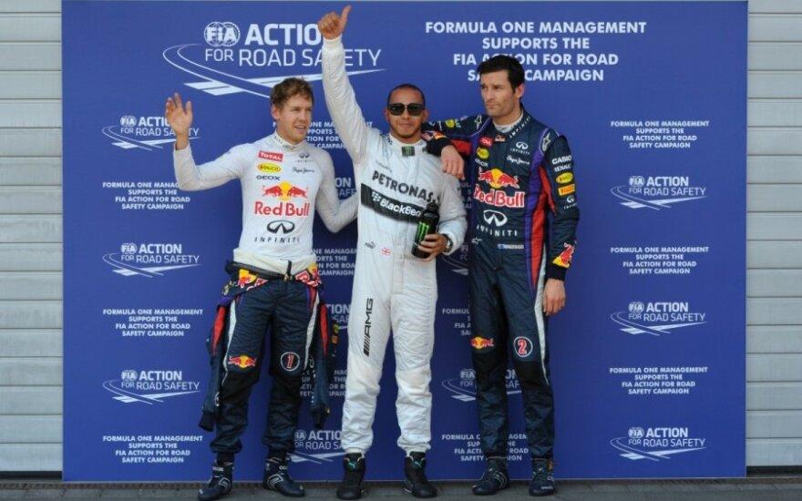 Sebastianas Vettelis. Lewisas Hamiltonas ir Markas Webberis