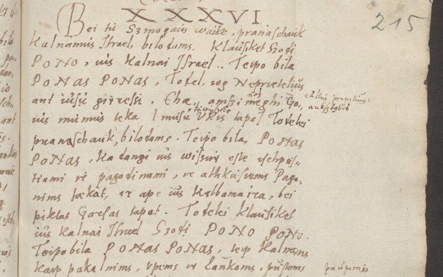 "Kleino irasas Bretkuno Biblioje (žodis ""tėwißke""  (7 eilutė)"