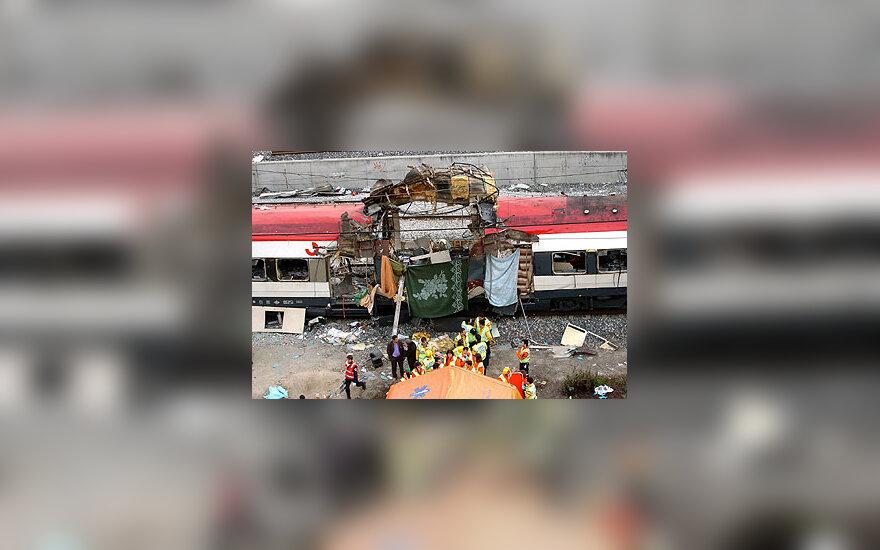 Susprogdintas traukinys Madride