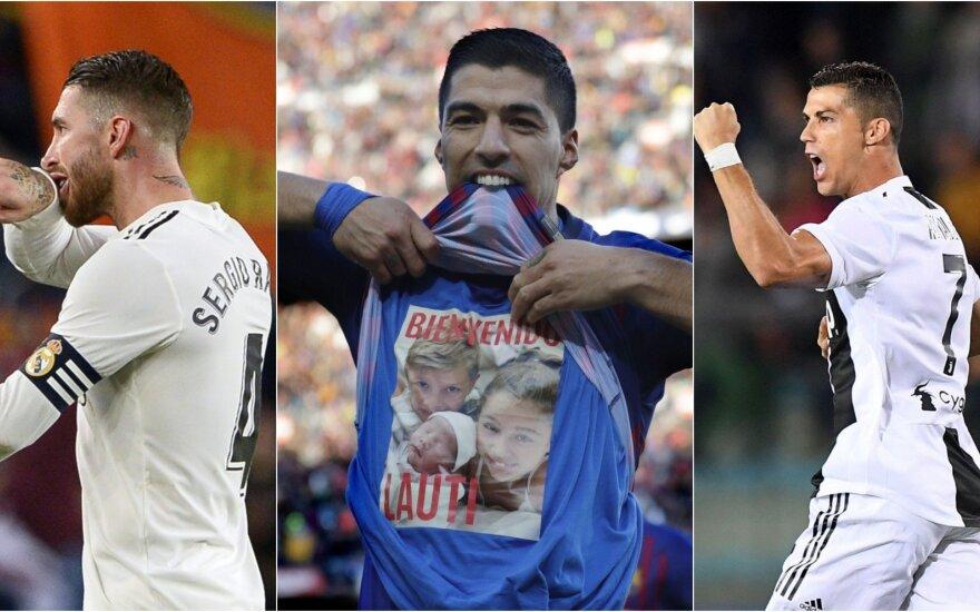 Sergio Ramosas, Luisas Suarezas, Cristiano Ronaldo / Foto: AFP-Scanpix, APTOPIX-Scanpix, Sipapress-Scanpix