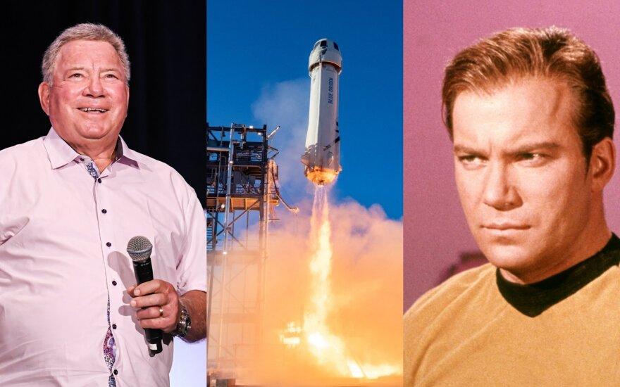 """""""Blue Origin"""" skris Williamas Shatneris, vaidinęs kapitoną Džeimsą T. Kirką seriale """"Žvaigždžių kelias"""""""
