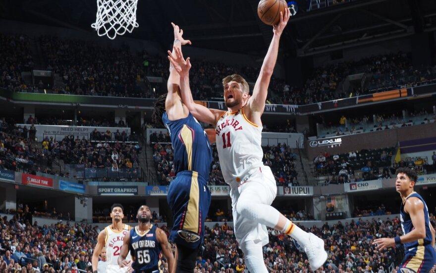 """Neprireikė nė Ziono: 14 taškų per dvi minutes sumetęs gynėjas pažabojo """"Pacers"""" su Saboniu"""
