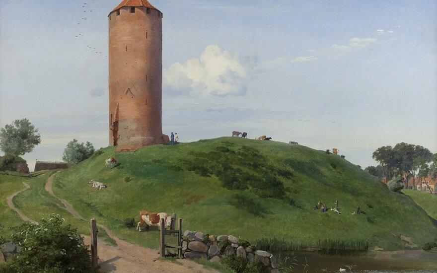 Johan Thomas Lundbye (1818–1848). Žąsies bokštas Vordingborge, Zelandijos saloje,1842