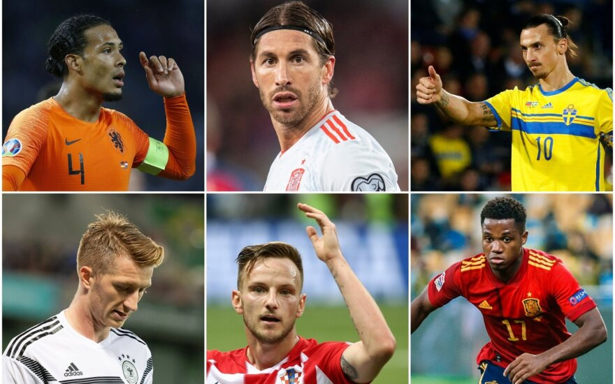 Virgilas van Dijkas, Sergio Ramosas, Zlatanas Ibrahimovičius, Marco Reusas, Ivanas Rakitičius, Ansu Fati