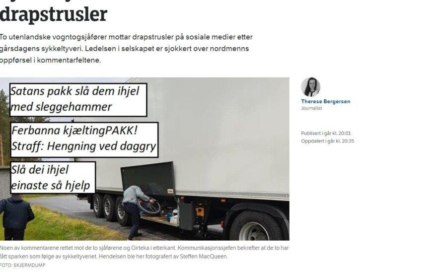 Girtekos vairuotojams teko sprukti iš Norvegijos dėl grasinimų susidoroti
