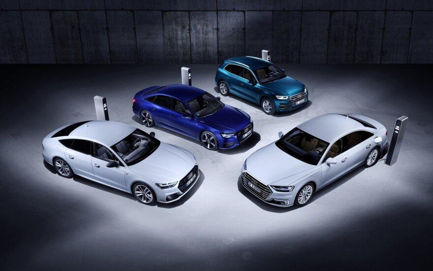 """Ženevoje """"Audi"""" parodys keturis modelius, galėsiančius važiuoti vien tik elektra"""