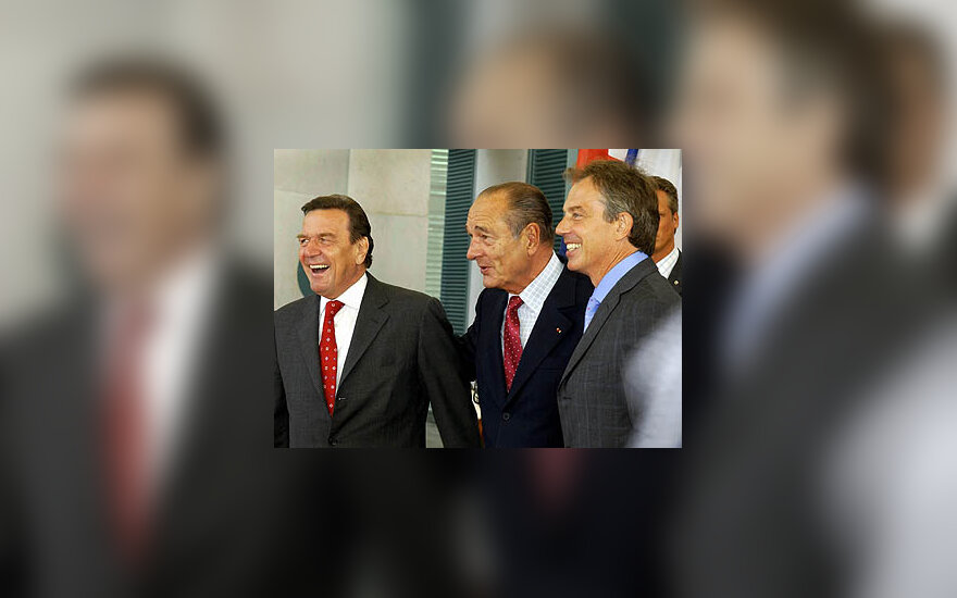 Gerhard Schroeder, Jacques Chirac ir Tony Blair